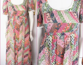 Vintage 70s Gauze Green Pink Floral Patchwork Print Smocked Maxi Dress.Small.Bust 34-36.Waist 25-28.