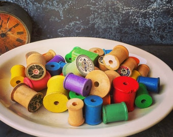 """Wooden Spools / Instant Collection of Spools / Largest 1 5/8"""" / 36 Spools"""