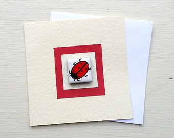 Ladybird Birthday Card, Ladybug Card, Greeting Card, Blank Card, Thankyou Card, Magnet Card