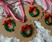 Christmas gift tags mini tinsel wreaths Kraft tags for party favors Cottage Chic