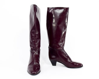 80s Brown Leather Riding Boots Charles David Boots, 8, 38