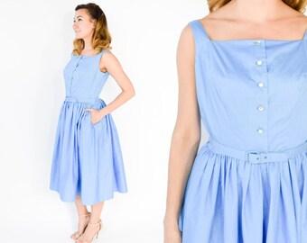 50s Blue Palazzo Jumpsuit | Sky Blue Cotton Sleeveless Full Skirt Playsuit Tea Party Dress | Medium