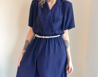 vintage navy blue dress shirtwaist 80s sapphire day dress cocktail dress 1980s 50s rockabilly size large