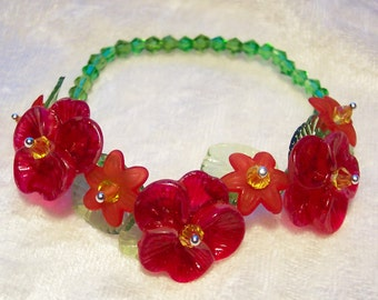 Red Bracelet, Red Flower Bracelet, Wrist Corsage Bracelet, Elastic Bracelet, Frosted Acrylic Flowers with Green Leaves, Green Crystals