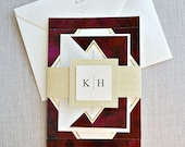 Klara Burgundy Watercolor Wedding Invitation Suite with Gold Glitter Belly Band