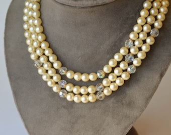 Pearl and Crystal Necklace Vintage Multi Strand Faux Pearl Necklace