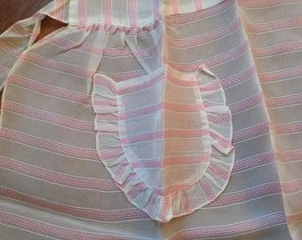 SALE, Vintage Apron, 1950s, Sheer Pink and White Stripes, Unworn