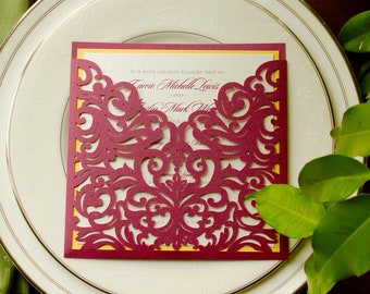 Burgundy Laser Cut Pocket with Gold Shimmery- CARRIE - *Sample*  Wedding Invitation with RSVP Shimmering Folder Wine Deep Purple Red