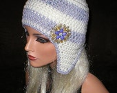 35%OFF SALE Crochet Women Soft White Lavender Ice Vintage Style Reproduction Rhinestones Brooch Ear Flap Hat Snowboard Hat