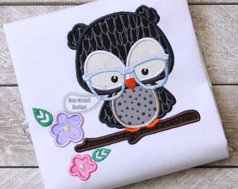 Owl Branch glasses applique embroidery design
