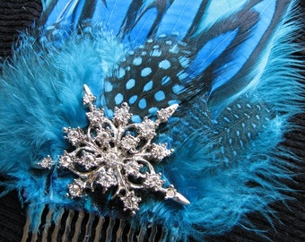 Snowflake hair comb | something blue | rhinestone headpiece | blue and silver | vintage