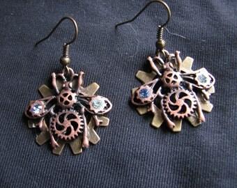Beetle earrings | clockwork | steampunk women | dangle | insect | rhinestone