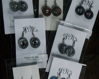 Bone Earrings, Dyed Bone Earrings, Grey Bone Earrings, Blue Bone Earrings, Green Bone Earrings, Brown Bone Earrings