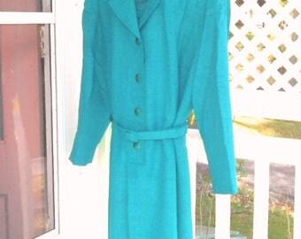 Dresses Vintage Plus Size Dresses 18 Green Long Sleeve Dress Belted Dress Size Women's Vintage Dresses Women's Vintage Clothing