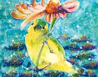 Watercolor Bird art - ORIGINAL Watercolour Wall Art Painting Wild Yellow Goldfinch under orange purple umbrella flower teal New Mexico 12x12