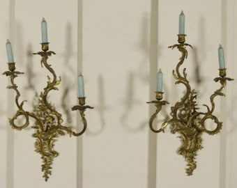 """Antique pair of bronze wall candleholders gorgeous Italian candelabras 26.37"""" x 15.74"""""""