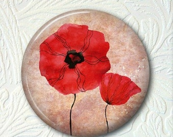 """Floral Poppy Pocket Mirror, 2.25"""" Size Choose your favorite of the 4 Prints, Buy 3 Mirrors Get 1 Mirror Free  424"""
