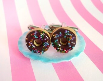 Chocolate Rainbow Sprinkled Donut Cufflinks