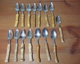 15 Vintage Grapefruit Spoons, Stainless Steel with Bamboo Handles, Japan & Taiwan, Fruit Spoon