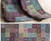 """15% off Through February - Whisper Modern Quilt Kit by Janine Burke - 80.5"""" x 90.5"""" Finished - Muted Plum, Green, Blue, Brown"""