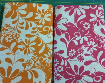 Crazy Daisy by Benartex Fabrics Approximately 4 Yards -  1970's Daisy Print in Orange Pink and White - Pre-washed Destash Fabric
