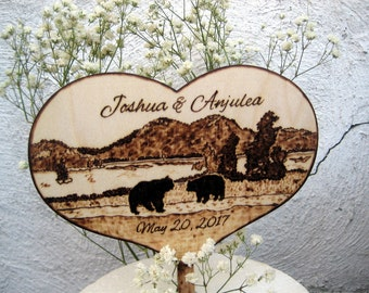 Lake Wedding Cake Topper, Bears, Country Wedding, Tree, Mountains, Wood Heart Topper, Bear Hunting, Rustic Wedding, Custom Pyrography,