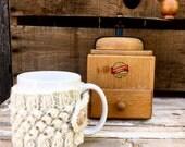 Coffee Mug Cozy, Coffee Cozy, Coffee Mug Sleeve, Travel Mug Cozy, Travel Cup Cozy, Cream Cozy with Bobbles, Cozy with Wood Buttons, Cream