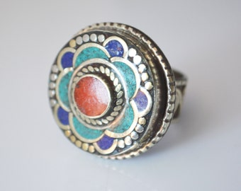 Lapis Coral Turquoise Nepal Jewelry, RARE MOSAIC Turquoise Coral Ring, Men's Ring,Vintage Tribal Jewelry, ethnic ,Aztec Art, Women's ring