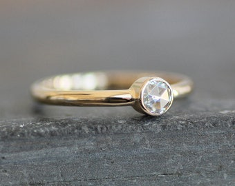 Moissanite Engagement Ring - Solid 14K Gold 2mm Band - 4mm Ethical Rose Cut Gemstone (Size 3 - 9) - Eco Metal - Diamond  Alternative
