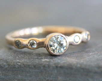 Moissanite Engagement Ring - Solid 14K Gold Pebble Band - 4mm Clair de Lune Gemstone  - Eco Metal - Diamond  Accents