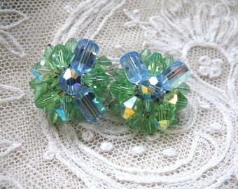 Vintage Cluster Earrings ~ Clip On ~ Blue & Green AB Crystal Glass Beads
