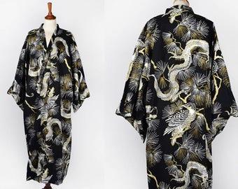 Vintage Dragon Robe || Black, White, and Gold