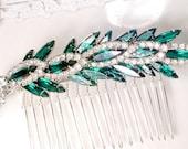 Vintage JULIANA Emerald Rhinestone Wedding Hair Comb/Dress Sash Brooch, OOAK Green Bridal Hairpiece, Marquise Crystal Headpiece Silver/Gold