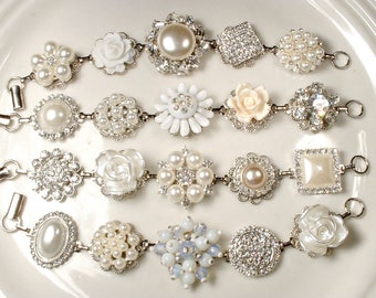 HOLD 8 Ivory & White Pearl Rhinestone Silver Bridal Bridesmaid Bracelets Set 4 5 6 7 9 Vintage Wedding Jewelry Gifts Rustic Romantic Country