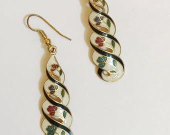 Vintage Cloisonne Twist  Dangle  Earrings