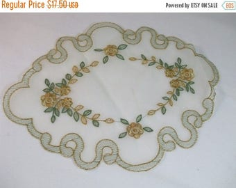 SALE 50% OFF Vintage Embroidered Nylon Table Doily Set of 4