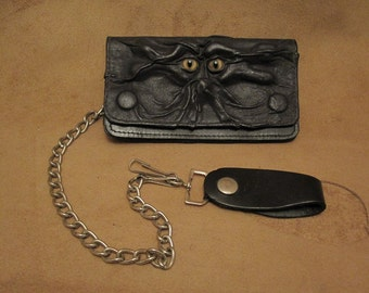 Grichels leather billfold biker chain wallet - black with honey brown and green slit pupil bobcat eyes