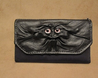 Grichels leather ladies wallet - black with custom metallic pale pink eyes