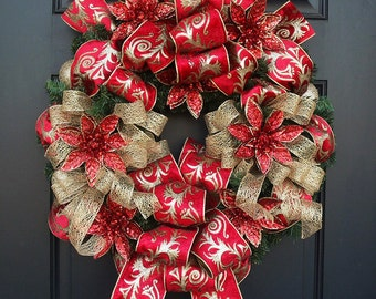 Poinsettia Wreath, Christmas Wreath, Red and Gold Wreaths, Elegant Christmas Door Wreath, Ribbon Wreath, Front Door Wreath