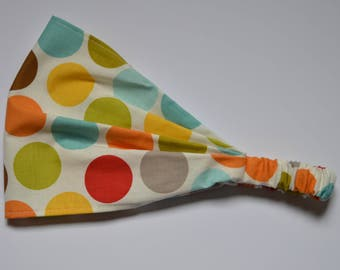 Yoga Headband Cotton Bandana - Rainbow Big Polka Dotted fabric