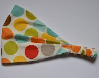 Yoga Headband Cotton Bandana - Rainbow Big Polka Dotted fabric