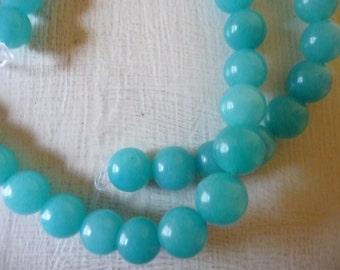 Aquamarine, 8mm Greenish Blue, Gemstone, Jewelry Making Beads, Pack of 12 beads.
