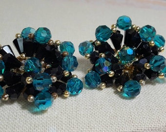 Crystal Teal Green Black Beaded Clip On Large Dramatic Cluster Statement Earrings Vintage