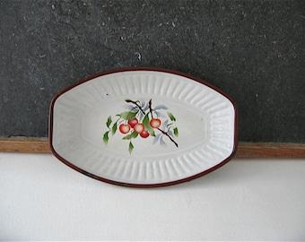 Painted enamel bowl, cherry, dish, pan