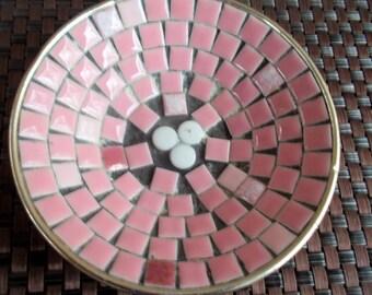 """Vintage 5"""" Pink Mosaic Tiled Metal Bowl"""