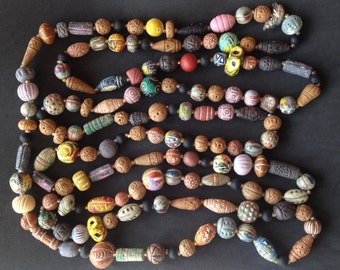 Clay Beads Necklace – Handmade Extra Long and Big Clay Beads – 1970s