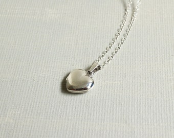 Tiny Heart Locket Necklace. small sterling silver heart locket necklace. silver heart locket. anniversary birthday gift. gift for her