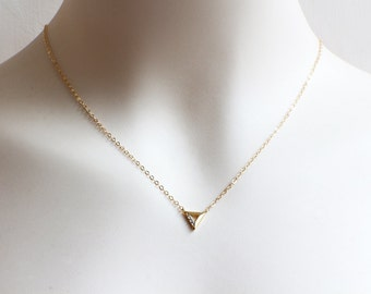 Gold Filled Triangle Necklace. rhinestone triangle pendant necklace. small triangle necklace. minimal layered gold filled necklace.