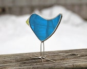 Dark Turquoise Bird Stained Glass Chick Suncatcher Unique Fun Gift Idea for Anyone Handmade in Canada