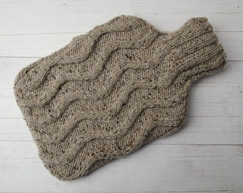 Hot water bottle Cover in sand ripple pure Irish Wool